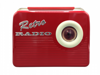 Rød gammeldags retro radio kagedåse