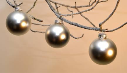 Silkematte sølv glas juletræs kugler Ø 6.7 cm