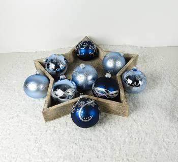 Babyblå midnatsblå mundblæste glas juletræskugler