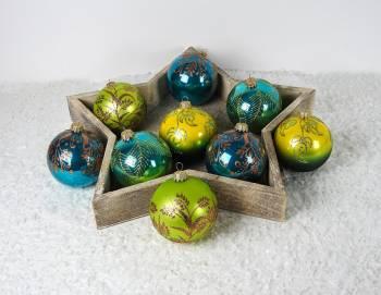 Batik farvede mundblæste glas juletræskugler