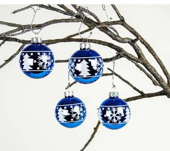 Blå blanke juletræskugler med deko Ø 6 cm