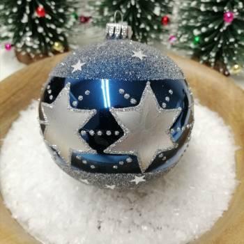Blå juletræskugle med sølv stjerner Ø 10 cm