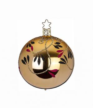 Blank guld juletræskugle med blad grene