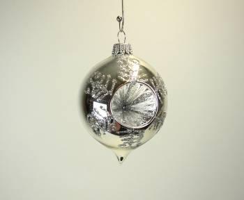 Blank sølv reflektor juletræskugle løgformet