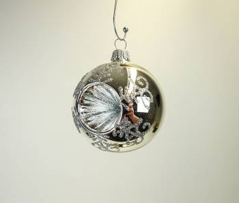 Blank sølv reflektor juletræskugle