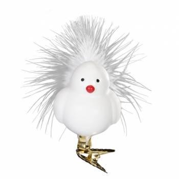 Fugl juletræs glaskugle hvid buttet med hale fjer