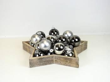Grå og sølv juletræskugler Ø 6 cm
