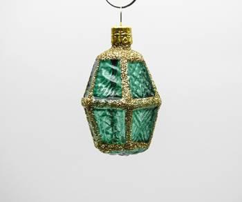 Grøn buttet lanterne juletræskugle med glas vinduer