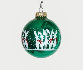Grøn juletræskugler med sjove rensdyr Ø 7 cm
