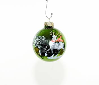 Grøn Rudolph juletræskugle