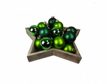 Grønne silkematte og blanke juletræskugler Ø 6 cm