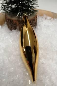 Guld blank dråbe juletræskugle 12 cm