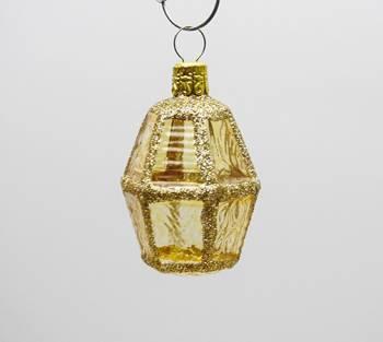 Guld buttet lanterne juletræskugle med glas vinduer