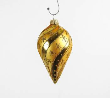 Guld silkematte juletræskugler buttet spids