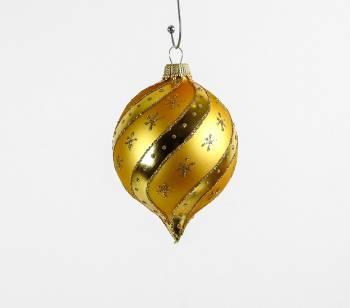 Guld silkematte juletræskugler løgformet