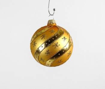 Guld silkematte juletræskugler med blanke snoninger