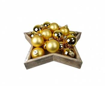 Guld silkematte og blanke glas julekugler Ø 6 cm