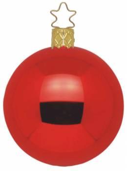 Højglans rød mundblæst juletræskugle 15 cm