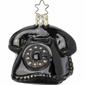 Hallo hallo sort telefon juletræskugle  6,5cm
