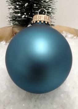 Havblå silkematte glas juletræskugler Ø 6.7 cm