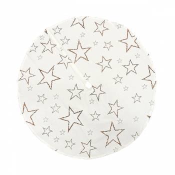 Hvid juletræstæppe med kobber stjerner