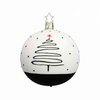 Hvid og sort juletræskugle med juletræ