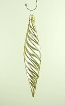 Hvid snoet dråber juletræskugler 14 cm