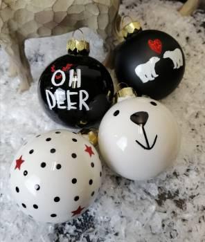Hvid sort juletræskugle silkemat og opal Ø 6 cm