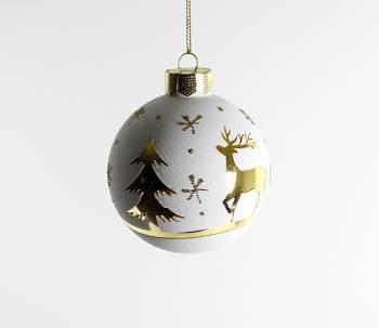 Hvide silkematte juletræs glaskugler med guld