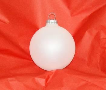 Hvide silkematte juletræskugler Ø 8 cm