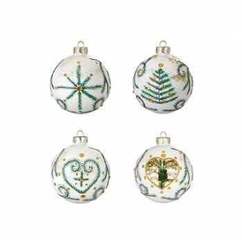 Hvide silkematte juletræskugler med dekor