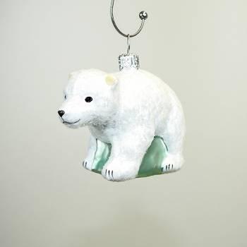 Isbjørn glas juletræs kugle