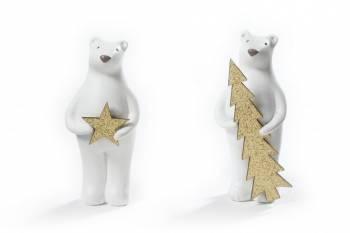 Isbjørne sæt med stjerne og juletræ 9 cm