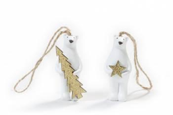 Isbjørne sæt med stjerne og juletræ