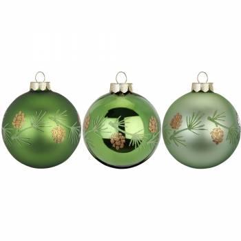 Jule nostalgi grønne juletræskugler Ø 6 cm