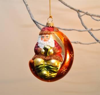 Julemand i rød og kobber julekugle med dekor