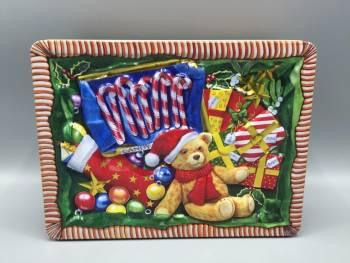 Kage dåse bamse med julesok og gaver metal