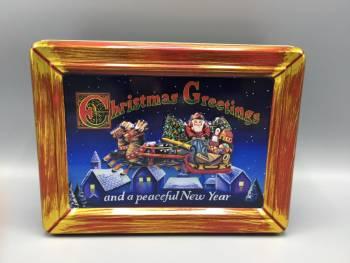 Kage dåse jule postkort af julemanden med kane metal