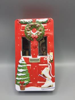 Kage dåse rød julepyntet dør metal
