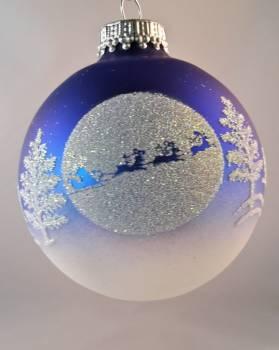 Koboltblå juletræskugle julemand og rensdyr