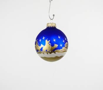 Koboltblå juletræskugler med betlehems fortælling Ø 7 cm