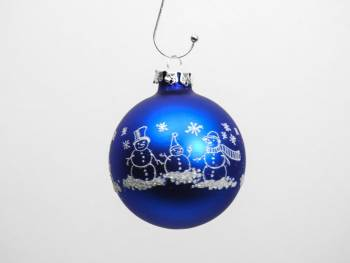 Koboltblå snemands juletræskugle sølv deko