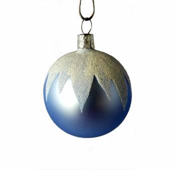 Lyseblå juletræskugle med hvid glimmer