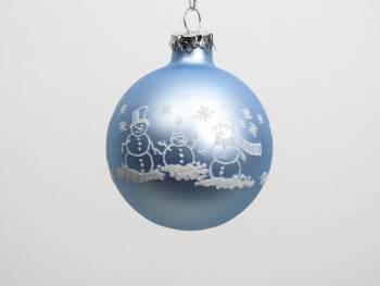 Lyseblå silkemat snemands juletræskugle hvid deko