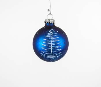 Midnatsblå juletræskugler med juletræ og sne