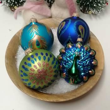 Påfugl eksklusiv juletræskugler sortiment