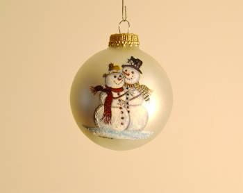 Perlemorshvide juletræskugler snemandspar