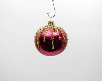 Pink juletræskugle blank med guld Ø 7 cm