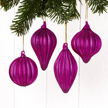 Pink juletræskugler med glimmer