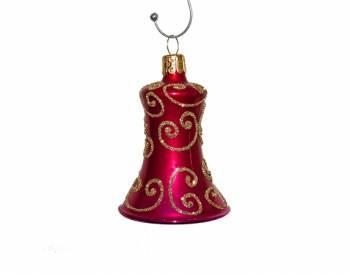 Pink rokoko klokke juletræskugler 5.5 cm